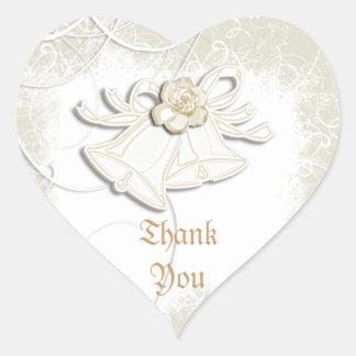 Blanco floral del boda de las campanas de iglesia calcomanías corazones