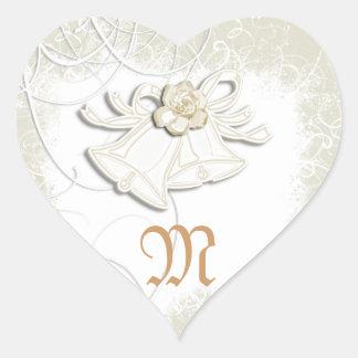 Blanco floral del boda de las campanas de iglesia colcomanias de corazon