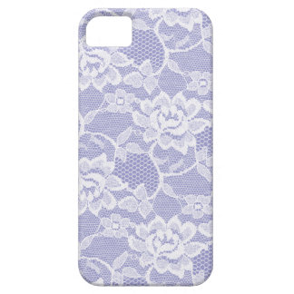 Blanco floral del cordón 311 con púrpura iPhone 5 funda