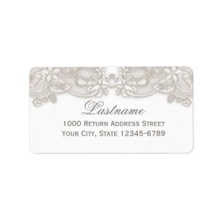 Blanco floral del diseño del vintage del cordón de etiquetas de dirección