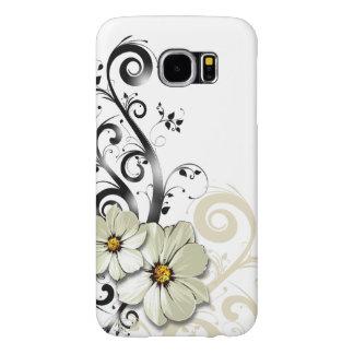 Blanco floral moderno de Curlicues que remolina el Funda Samsung Galaxy S6