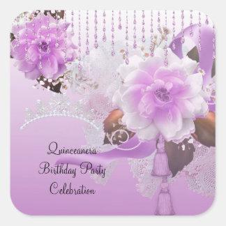 Blanco floral rosado de la décimo quinta lila de pegatina cuadrada