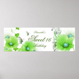 blanco floral verde bonito del cumpleaños grande d impresiones