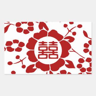 Blanco • Flores de corte de papel • Felicidad dobl Rectangular Pegatinas