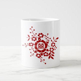Blanco • Flores de corte de papel • Felicidad dobl Tazas Jumbo