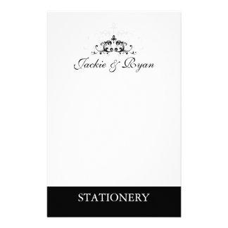 Blanco formal del negro del adorno de los efectos  personalized stationery