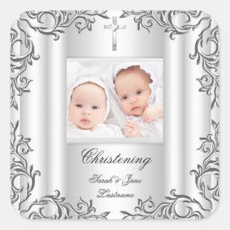 Blanco gemelo del bautismo del bautizo del pegatina cuadrada