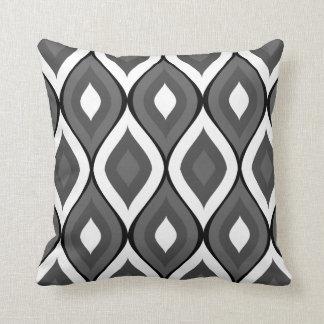 Blanco geométrico oval Curvy de los grises Cojin