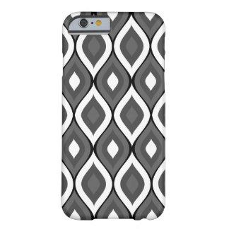 Blanco geométrico oval Curvy del carbón de leña Funda De iPhone 6 Barely There