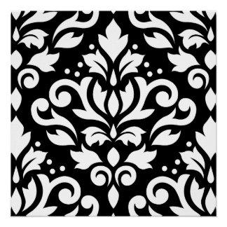 Blanco grande del diseño del damasco de la voluta perfect poster