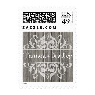Blanco gris afiligranado de madera rústico del | sello