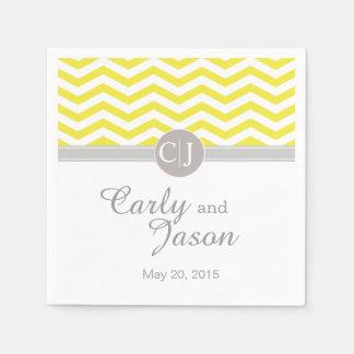 Blanco gris amarillo elegante de Chevron el | Servilletas Desechables