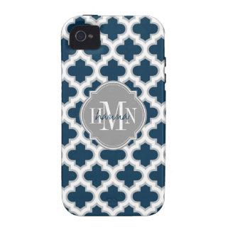 Blanco gris marroquí de azules marinos del enrejad vibe iPhone 4 carcasas