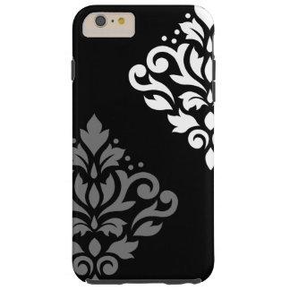 Blanco gris negro del arte I del damasco de la Funda De iPhone 6 Plus Tough