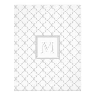 Blanco gris Quatrefoil el | su monograma Tarjeta Publicitaria