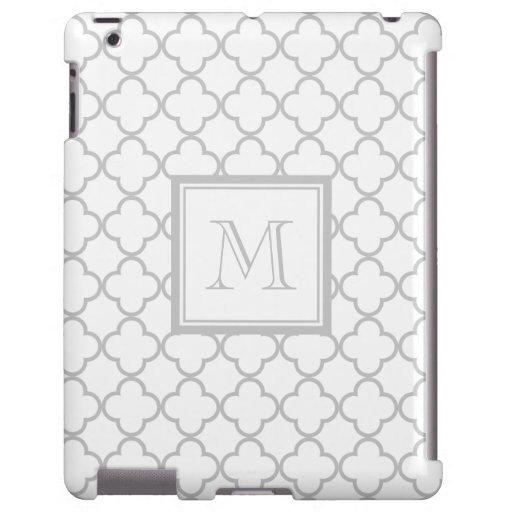 Blanco gris Quatrefoil el | su monograma Funda Para iPad