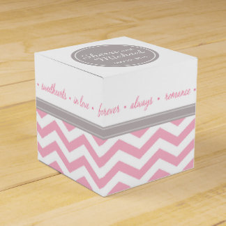 Blanco gris rosado elegante del monograma el de paquetes de regalo