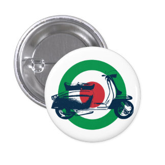 Blanco Italia de la vespa Pin Redondo 2,5 Cm