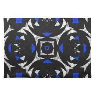 Blanco Keolidescope del negro azul Manteles