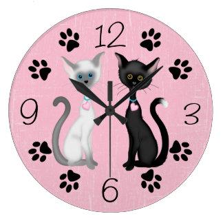 Blanco lindo del rosa del negro del ~ de los gatos reloj redondo grande