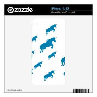 blanco mágico y azul del modelo de los unicornios skin para el iPhone 4