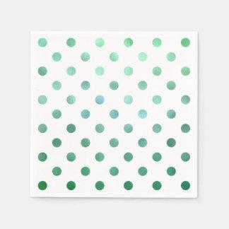 Blanco metálico del lunar de la hoja del verde de servilleta desechable