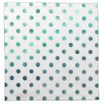 Blanco metálico del lunar de la hoja del verde del servilleta imprimida