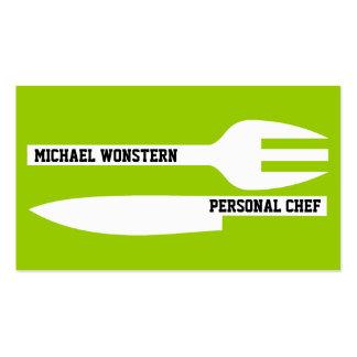 Blanco minimalista de la verde lima del cocinero p tarjetas de negocios