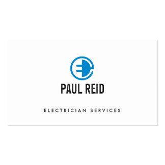 Blanco moderno del logotipo del electricista tarjetas de visita