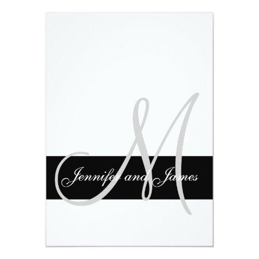 Blanco moderno del negro del monograma de la invitación 12,7 x 17,8 cm