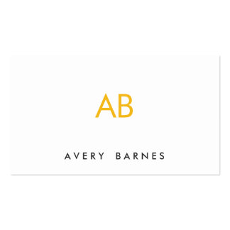 Blanco moderno minimalista del monograma amarillo tarjetas de visita