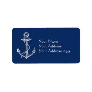 Blanco náutico de los azules marinos del regalo de etiquetas de dirección