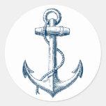 Blanco náutico de los azules marinos del regalo de etiqueta redonda