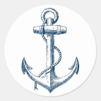 Blanco náutico de los azules marinos del regalo de pegatina redonda
