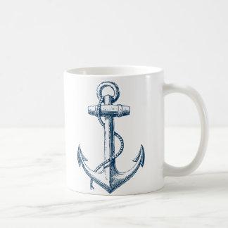Blanco náutico de los azules marinos del regalo de taza clásica