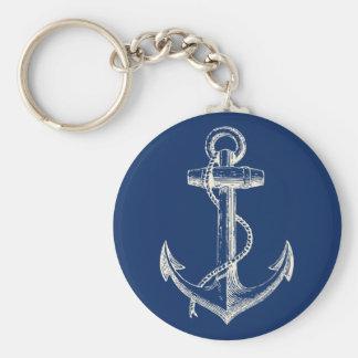 Blanco náutico de los azules marinos del regalo llavero redondo tipo pin