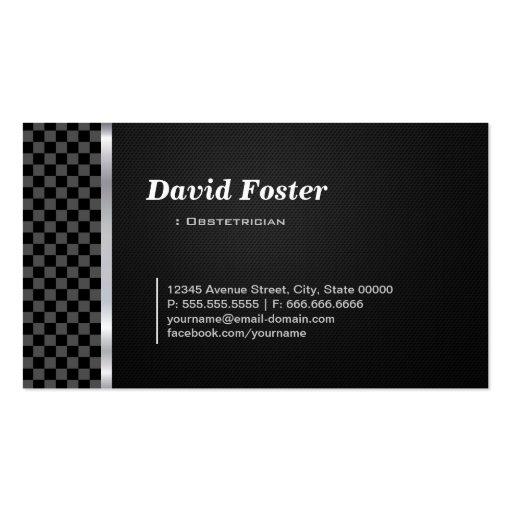 Blanco negro a cuadros del obstétrico tarjetas de visita