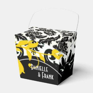 Blanco negro amarillo de Paisley el del damasco Paquetes De Regalo Para Bodas