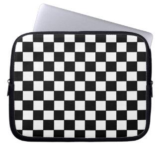 Blanco negro comprobado - manga del ordenador port funda portátil