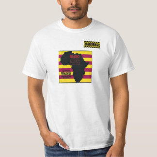 BLANCO negro de Randy Idi Amin Dangerhouse de la Playera