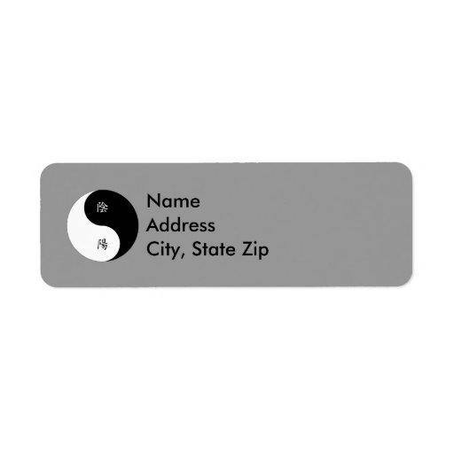 Blanco negro de Yin Yang n del kanji Etiquetas De Remite