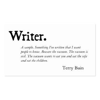 Blanco negro del escritor plantillas de tarjeta de negocio