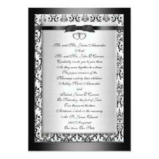 Blanco negro elegante de la invitación del boda