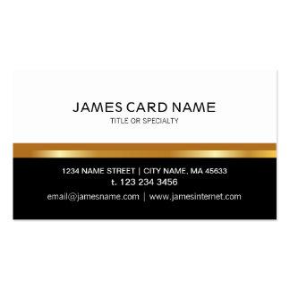 Blanco negro elegante - línea del oro tarjetas de visita