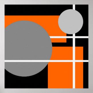 Blanco negro gris anaranjado abstracto AP0001 Impresiones
