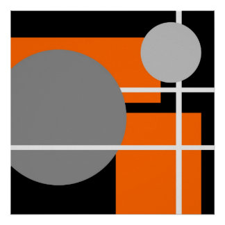 Blanco negro gris anaranjado abstracto AP0001 Póster