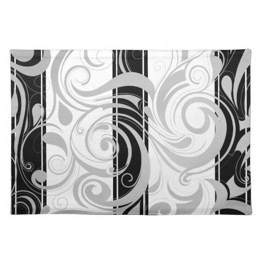 Blanco negro gris floral del remolino de Placemats Manteles