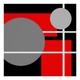 Blanco negro gris rojo abstracto AP0001 Posters