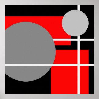 Blanco negro gris rojo abstracto AP0001 Póster