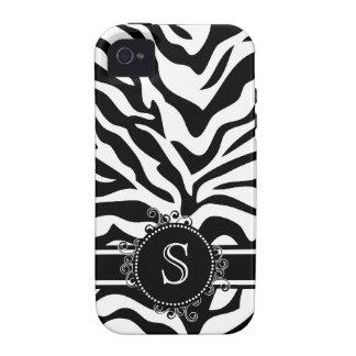 Blanco negro intrépido de la cebra con el monogram iPhone 4/4S fundas
